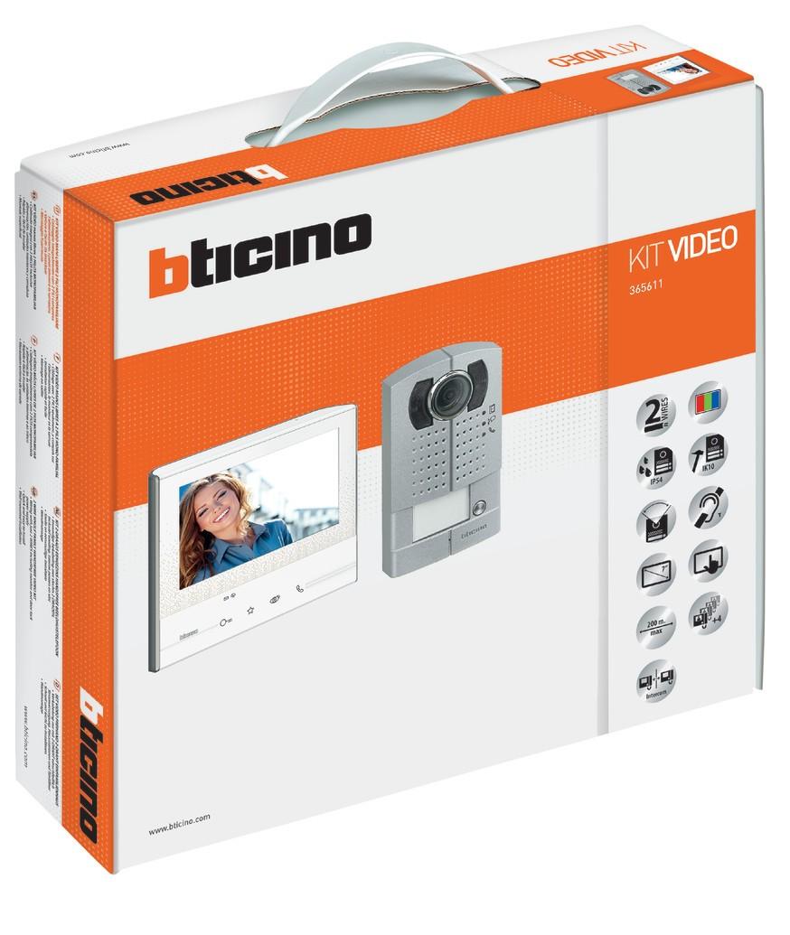 videofoon kit bticino opbouw linea metal classe 300 voor 1 woning uitbreidbaar. Black Bedroom Furniture Sets. Home Design Ideas