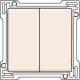 Afwerkingsset voor serieschakelaar, wisselschakelaar + drukknop N.O., dubbele wisselschakelaar of dubbele drukknop N.O. of N.G. , Cream