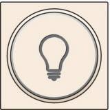Afwerkingsset met doorschijnende ring met lampsymbool voor drukknop 6A met amberkleurige led met E10-lampvoet, Cream
