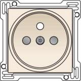 Afwerkingsset voor stopcontact met penaarde en kinderveiligheid, inbouwdiepte 21mm, Cream