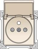 Afwerkingsset voor stopcontact met klapdeksel, penaarde en kinderveiligheid, inbouwdiepte 28,5mm, Cream