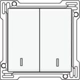 Afwerkingsset met dubbele lens voor serieschakelaar, wisselschakelaar + drukknop N.O., dubbele wisselschakelaar of dubbele drukknop N.O. of N.G., White