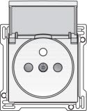 Afwerkingsset voor stopcontact met klapdeksel, penaarde en kinderveiligheid, inbouwdiepte 28,5mm, White