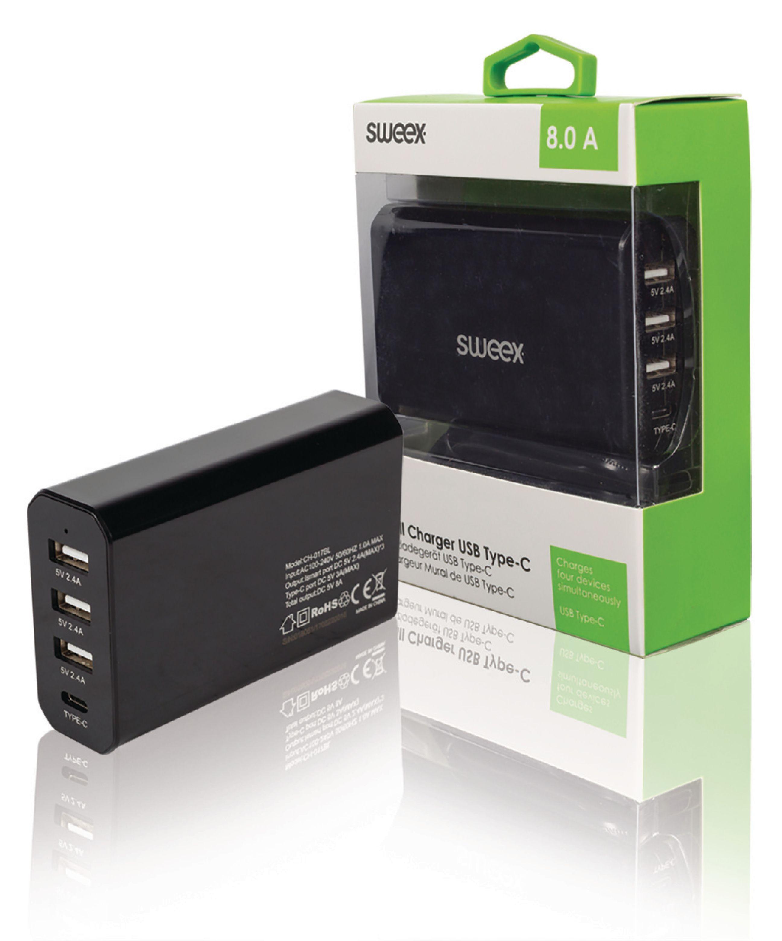 SWEEX Lader 4 - Uitgangen 8 A USB / USB-C Zwart