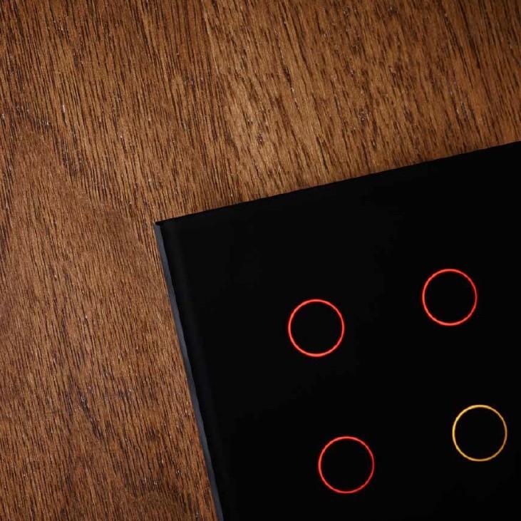 Tastu Black Slimme glasschakelaar zwart, fingerprint-proof touch, 4-toets met RGB LEDs