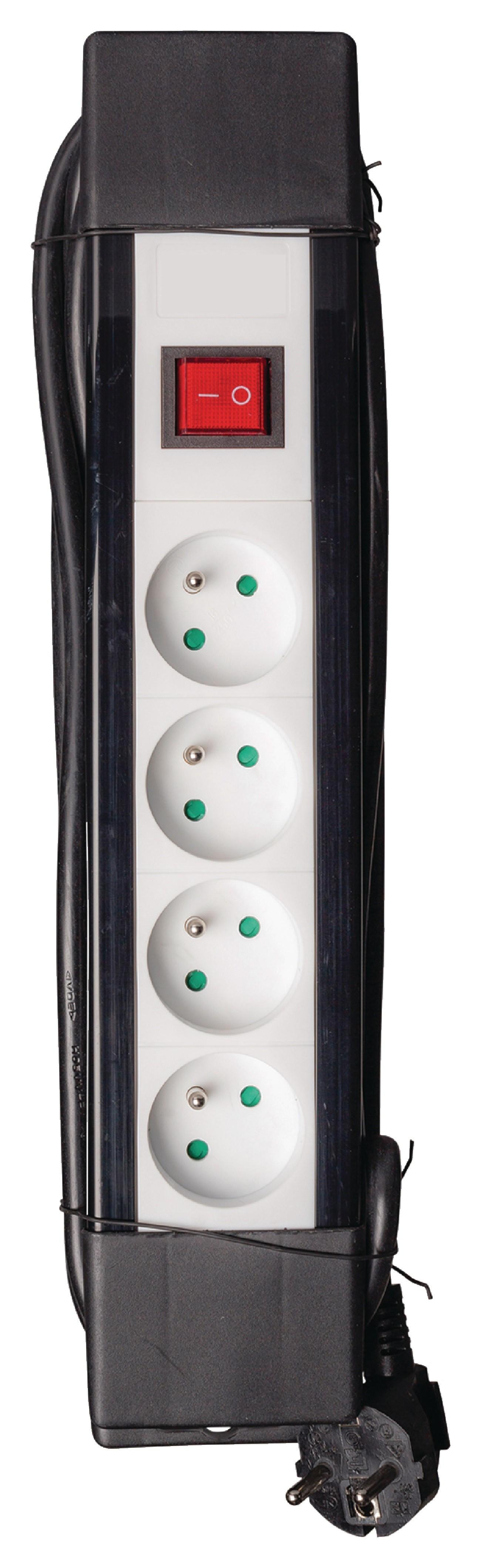 4-voudige stekkerdoos met schakelaar zwart/wit met 3 meter kabel