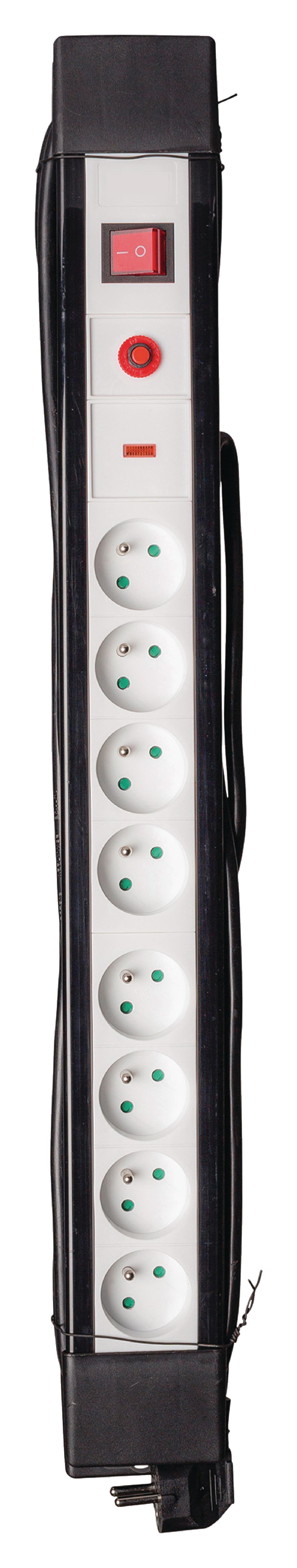 8-voudige overspanningsbeveiligde stekkerdoos met schakelaar zwart/wit met 3 meter kabel