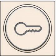 Afwerkingsset met doorschijnende ring met sleutelsymbool voor drukknop 6A met amberkleurige led met E10-lampvoet, Cream