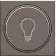 Afwerkingsset met doorschijnende ring met lampsymbool voor drukknop 6A met amberkleurige led met E10-lampvoet, Greige