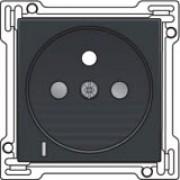 Afwerkingsset met doorschijnende lens voor stopcontact met spanningsaanduiding, penaarde en kinderveiligheid, inbouwdiepte 28,5mm, Anthracite