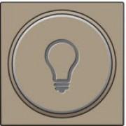 Afwerkingsset met doorschijnende ring met lampsymbool voor drukknop 6A met amberkleurige led met E10-lampvoet, Bronze