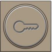 Afwerkingsset met doorschijnende ring met sleutelsymbool voor drukknop 6A met amberkleurige led met E10-lampvoet, Bronze