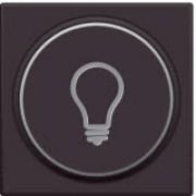 Afwerkingsset met doorschijnende ring met lampsymbool voor drukknop 6A met amberkleurige led met E10-lampvoet, Dark brown