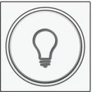 Afwerkingsset met doorschijnende ring met lampsymbool voor drukknop 6A met amberkleurige led met E10-lampvoet, White coated