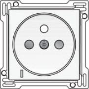 Afwerkingsset met doorschijnende lens voor stopcontact met spanningsaanduiding, penaarde en kinderveiligheid, inbouwdiepte 28,5mm, White coated