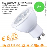 LED spot GU10 MR16 Warmwit 2700K 5.5W 350Lumen Dimbaar
