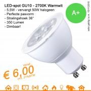 LED spot GU10 MR16 Warmwit 2700K 5.5W 350Lumen Dimbaar