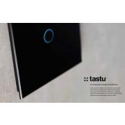 Tastu Black Slimme glasschakelaar Zwart, fingerprint-proof touch, 1-toets met RGB LED