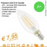 LED Retrofit Filament Kaarslamp E14 Candle 4W 345Lumen warmwit 2700K Dimbaar