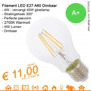 LED Retrofit Filament Lamp E27 A60 4W 450Lumen warmwit 2700K DIMBAAR