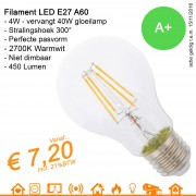 LED Retrofit Filament Lamp E27 A60 4W 450Lumen warmwit 2700K
