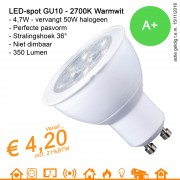 LED spot GU10 MR16 Warmwit 2700K 4.7W 350Lumen