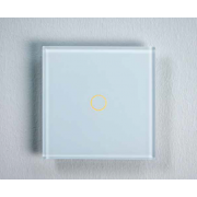 Tastu White Slimme glasschakelaar Wit, fingerprint-proof touch, 1-toets met RGB LED