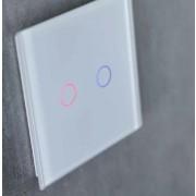 Tastu White Slimme glasschakelaar Wit, fingerprint-proof touch, 2-toets met RGB LEDs